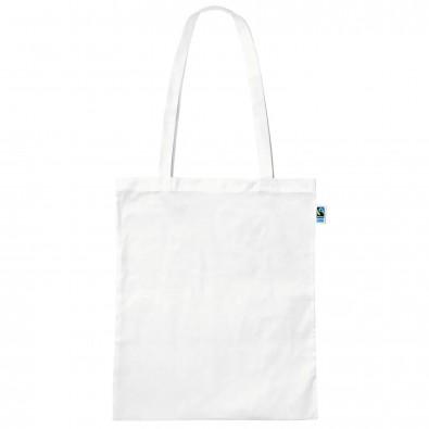 Fairtrade Baumwolltasche weiß, Lange Henkel