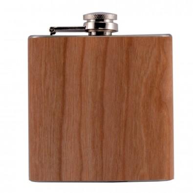 Edelstahl Flachmann Wood, 180 ml