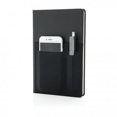 DIN A5 Deluxe Notizbuch mit Fächern, schwarz