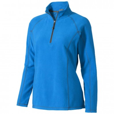 Bowlen Damen Langarm Fleeceshirt mit 1/4 Reißverschluss, blau, XL