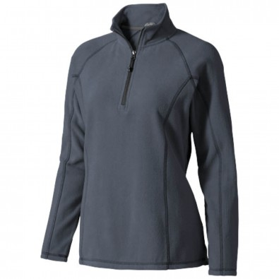Bowlen Damen Langarm Fleeceshirt mit 1/4 Reißverschluss, Storm Grey, XS