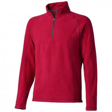 Bowlen Langarm Fleeceshirt mit 1/4 Reißverschluss, rot, M