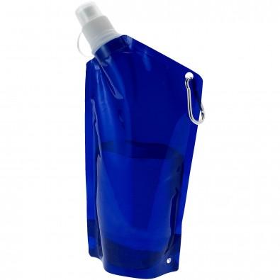 Cabo 600 ml Wasserbeutel mit Karabiner, transparent blau
