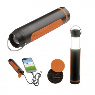 Campinglampe mit Powerbank REFLECTS-SAN BERNARDO, schwarz/orange, 2200 mAh