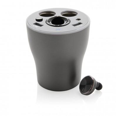 Car-Charger-Cup mit Hands-Free-Kopfhörer, grau