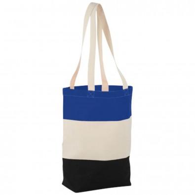 Colour Block Baumwoll Tragetasche, natur,royalblau