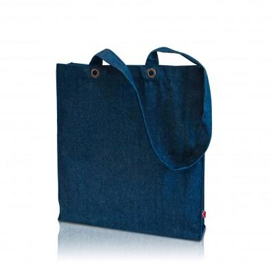 Denim-Baumwolltasche mit Boden/Seitenfalte, denim blau