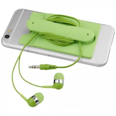 Ohrhörer mit Kabel und Silikon Telefontasche, limone