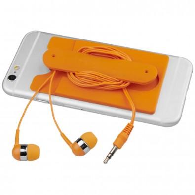 Ohrhörer mit Kabel und Silikon Telefontasche, orange