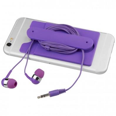 Ohrhörer mit Kabel und Silikon Telefontasche, lila