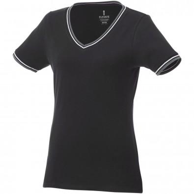 Elbert Piqué T-Shirt für Damen, schwarz,grau meliert,weiss, L