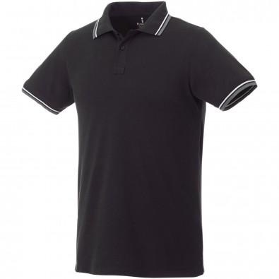 ELEVATE Herren Poloshirt Fairfield mit weißem Rand, schwarz,grau meliert,weiss, S