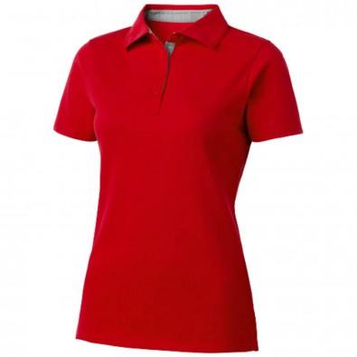 Hacker Poloshirt für Damen, rot,grau, M