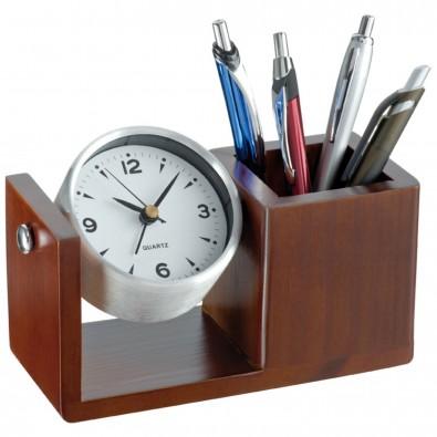 Holz-Tischuhr mit Stifteköcher