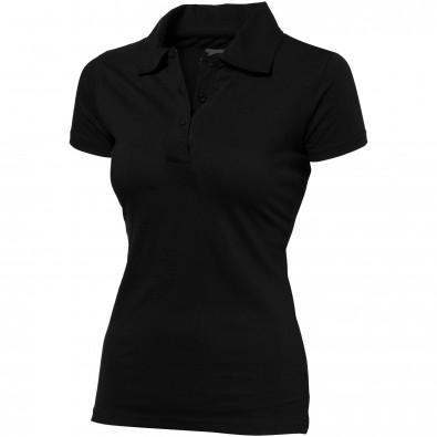Let Jersey Poloshirt für Damen, schwarz, S