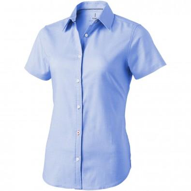 Manitoba Damen Kurzarm Bluse, hellblau, XL