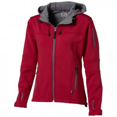 Match Damen Softshell Jacke mit Kapuze, rot, S