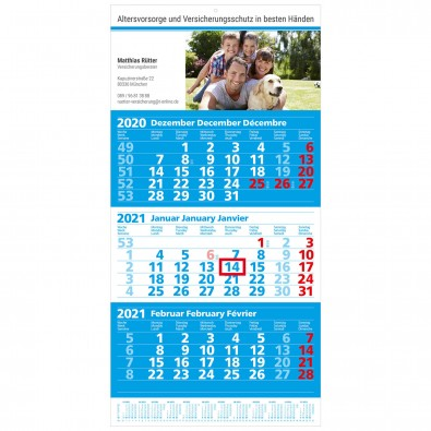 MAXI 3-Monats-Wand-Kalender 2020, Euroblau/Weiß