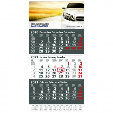 MAXI 3-Monats-Wand-Kalender 2020, Anthrazit/Weiß