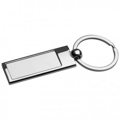 Metall-Schlüsselanhänger mit matt gebürsteten Innenteil, grau