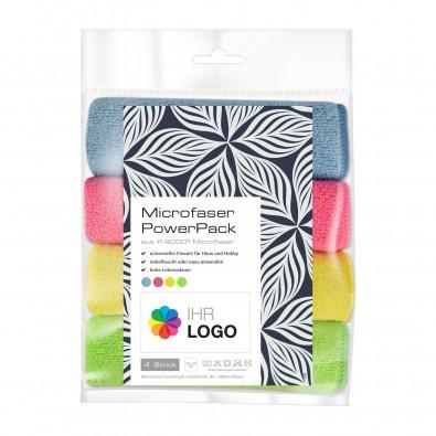 Microfaser PowerPack mit Werbe-Etikett Neutral, hellblau, pink, grün und gelb