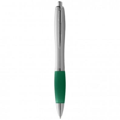 Nash Kugelschreiber silber mit farbigem Griff, blaue Mine, schwarze Mine, grün,silber