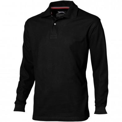 Point langärmliges Poloshirt für Herren, schwarz, S