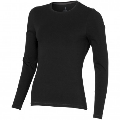 Ponoka – Öko-Langarmshirt für Damen, schwarz, L