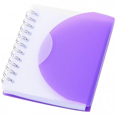 Post DIN A7 Spiral Notizbuch, lila,transparent