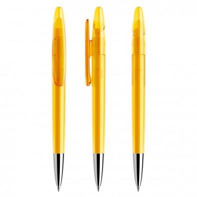 Prodir® Drehkugelschreiber DS 5 mit polierter Metallspitze, Gelb Transparent