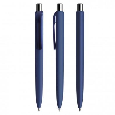 Prodir DS8 Soft Touch PRR Push Kugelschreiber, Sodalithblau-Silber poliert