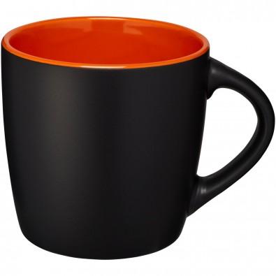 Riviera 340 ml Keramiktasse, schwarz,orange