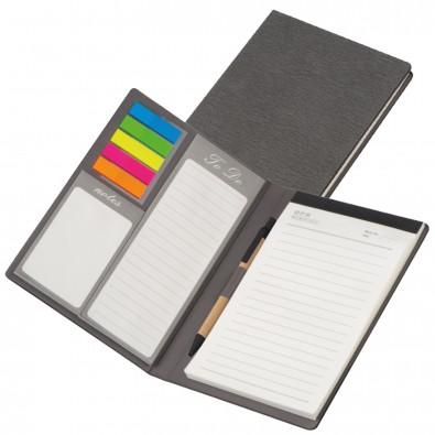 Schreibmappe mit PU Einband, Notizen, To Do Liste und Haftmarkern, grau