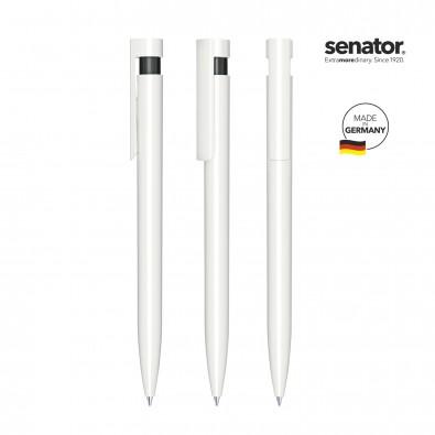 senator® Druckkugelschreiber Liberty Polished Basic, weiß,schwarz
