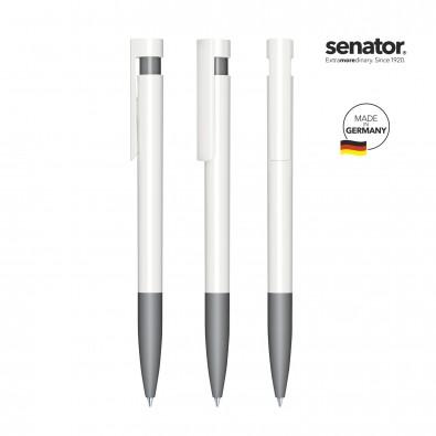 SENATOR Liberty Polished Basic SG Druckkugelschreiber, weiß/grau cool gray 9