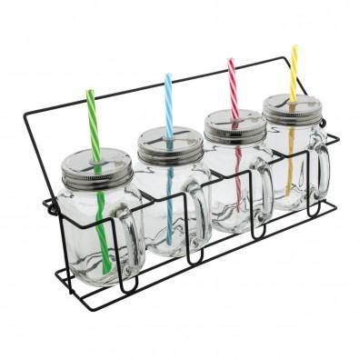 Set aus 4 Gläsern mit Strohhalmen ARACUJA