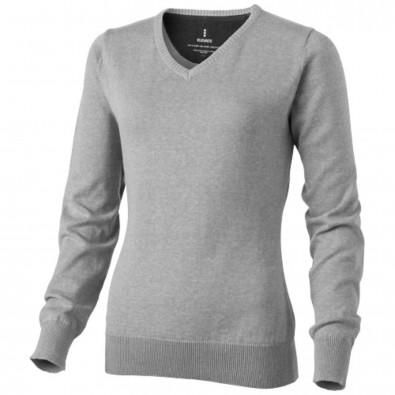Spruce Damen Pullover mit V Ausschnitt, grau meliert, L
