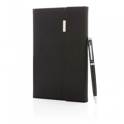 Swiss Peak Deluxe A5 Notizbuch mit Stift, schwarz