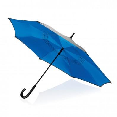"""Umgekehrter manueller 23"""" Zoll Regenschirm, blau blau"""