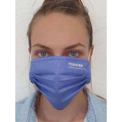 Gesichtsmaske für Mund-Nasenabdeckung, Textil blau, einlagig, mit Bestickung