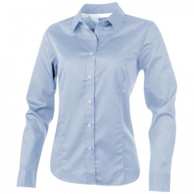 Wilshire Damen Langarm Bluse, blau mattiert, M
