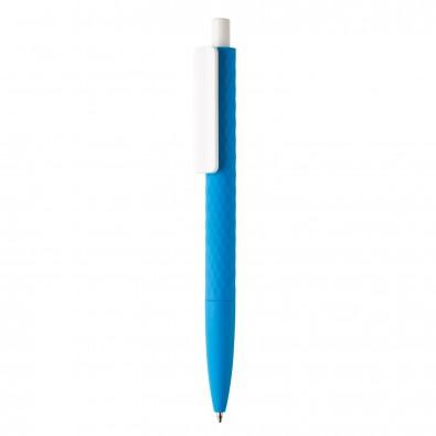 X3-Stift mit Smooth-Touch, blau,weiß