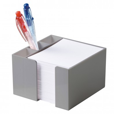 Zettelbox Stifteköcher, standard-silber