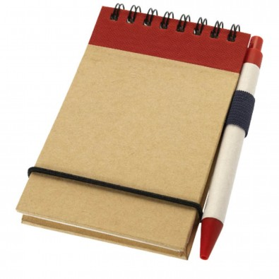 Zuse DIN A7 Spiral Notizblock mit Stift, natur,rot