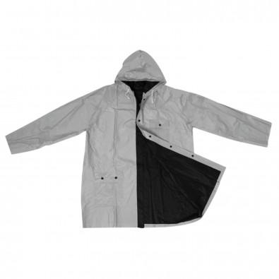 Zweifarbige phthalatfreie Wende-Regenjacke aus PVC, schwarz / silber