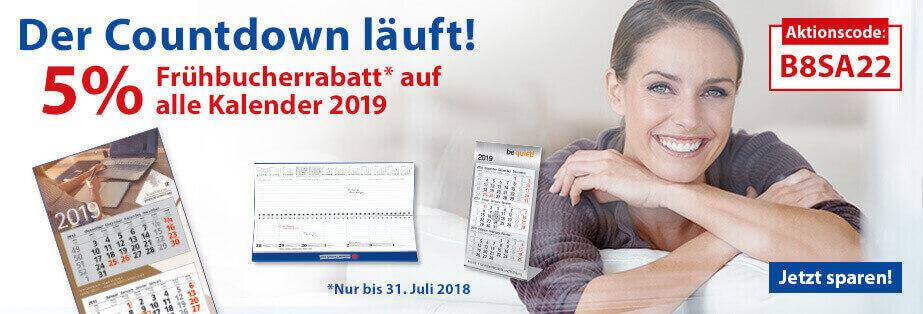 5% Frühbucher-Rabatt auf alle Kalender